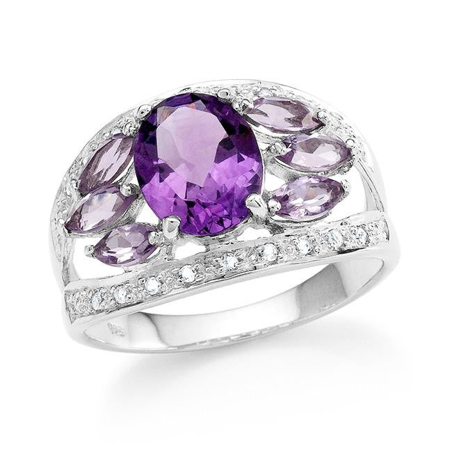 3.50 Carat Genuine Amethyst & White Topaz Ring in Sterling Silver