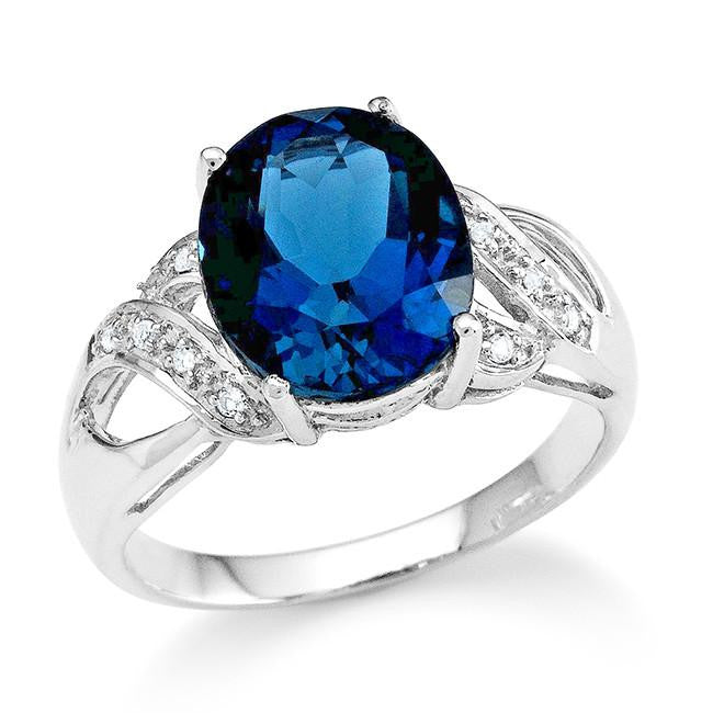 4.00 Carat London Blue Topaz and White Topaz Ring in Sterling Silver