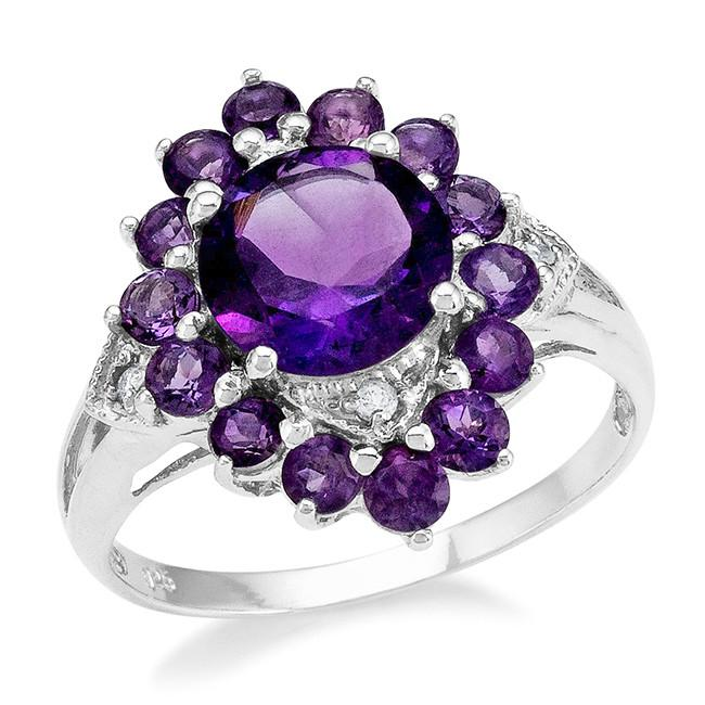 3.25 Carat Amethyst and White Topaz Ring in Sterling Silver