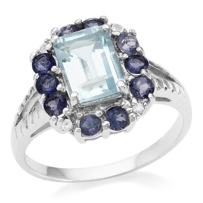 2.05 Carat Genuine Aquamarine Ring in Sterling Silver