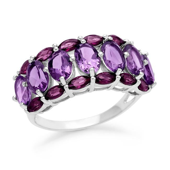 4.20 Carat Amethyst and Rhodolite Ring in Sterling Silver