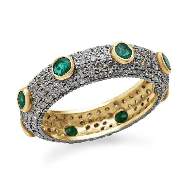 0.50 Carat Green Emerald With Diamonds In 10K Yellow Gold Over Sterling Silver