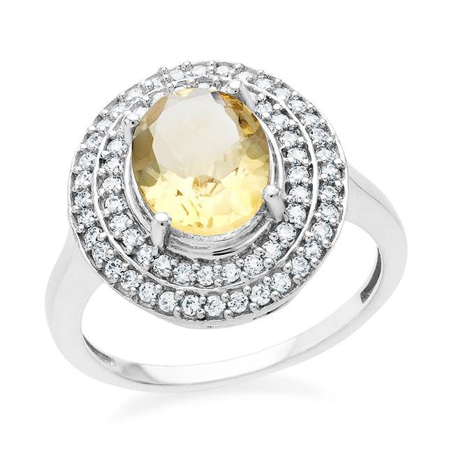 3.00 Carat Oval Citrine & Cubic Zirconia Ring In Sterling Silver- Size 8