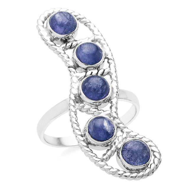 3.25 Carat Genuine Tanzanite Ring In Sterling Silver