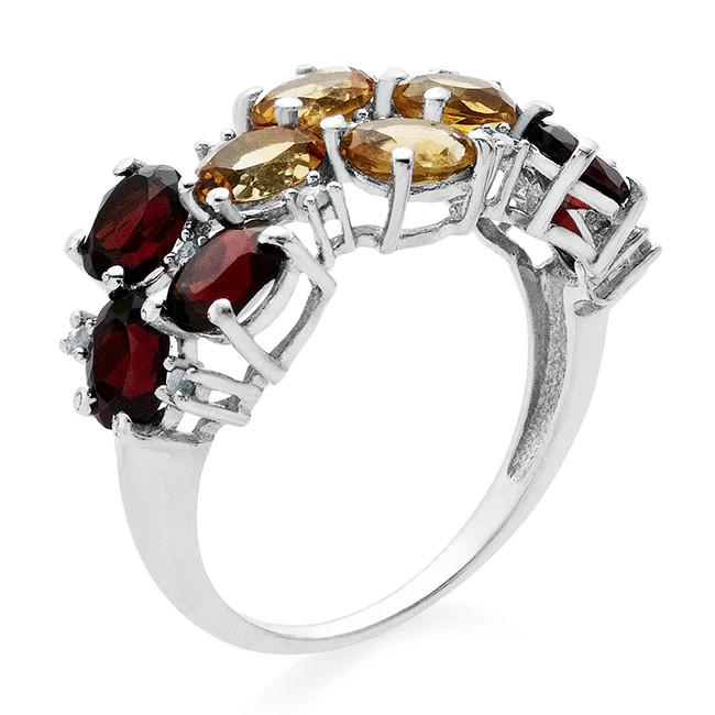 1.96 Carat Genuine Citrine & Garnet With Diamond Accents Ring In Sterling Silver
