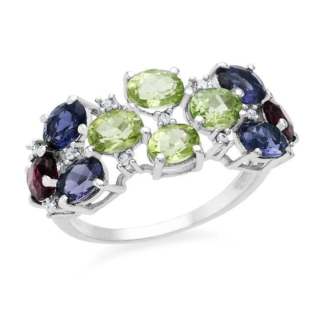 2.04 Carat Multi Gemstone With Diamond Accents Ring In Sterling Silver