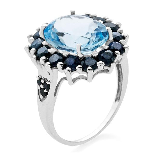 7.87 CTW Blue Topaz & Blue Sapphire With Black Diamonds Ring In Sterling Silver
