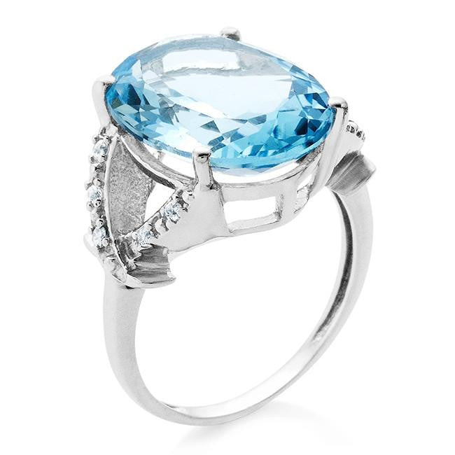 11.10 Carat Blue & White Topaz With Diamond Accents Ring In Sterling Silver