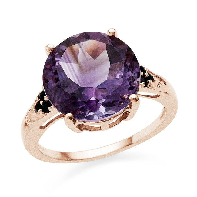 5.45 Carat Genuine Amethyst & Blue Sapphire Ring In Rose Gold-Plated Sterling Silver