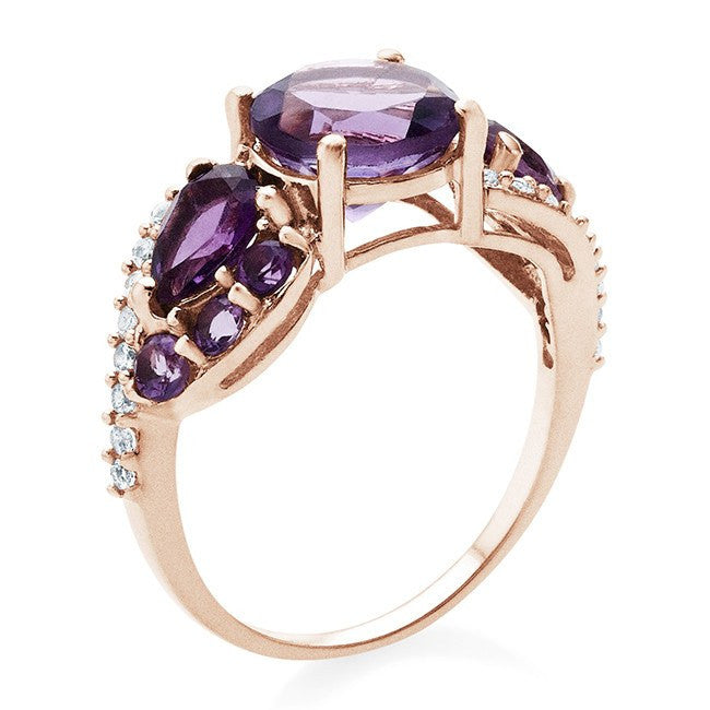 3.17 Carat Amethyst & White Topaz Ring In 10K Rose Gold Over Sterling Silver