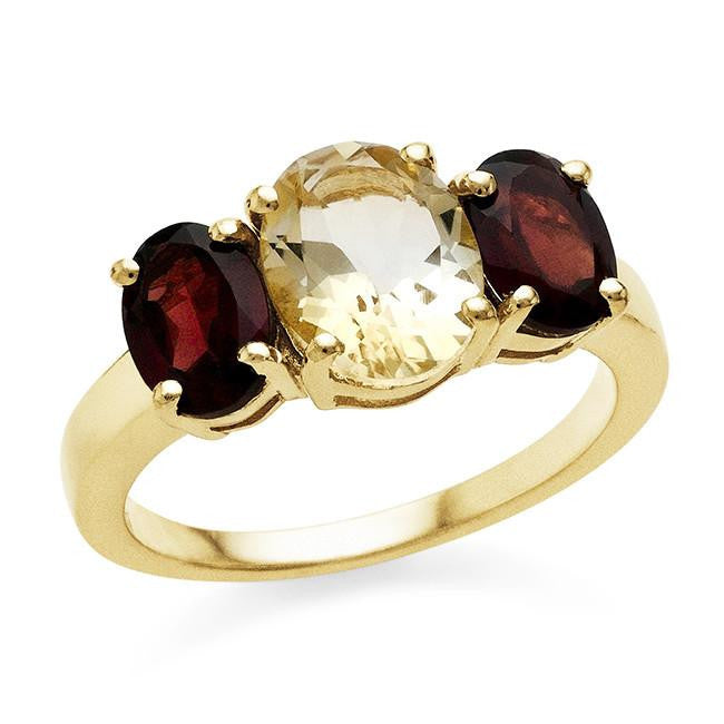 3.71 Carat Genuine Citrine & Garnet Ring In 10K Yellow Gold Over Sterling Silver