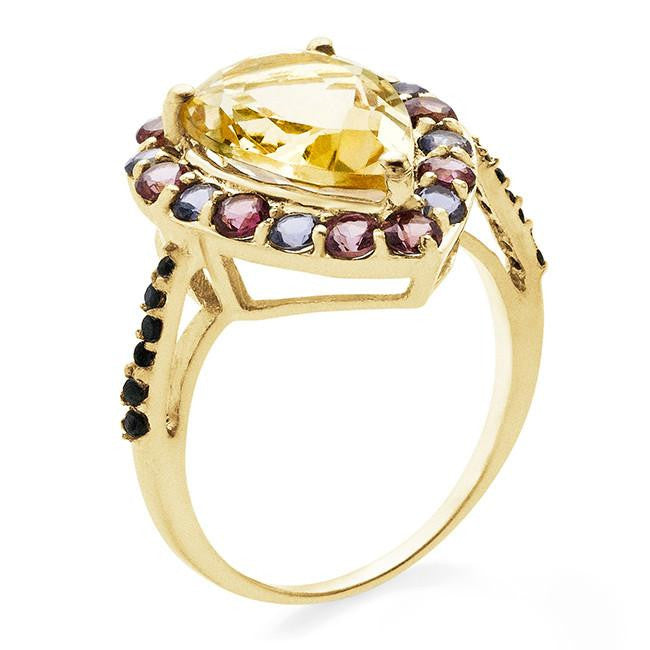 4.63 Carat Multi Gemstone Ring In 10K Yellow Gold Over Sterling Silver