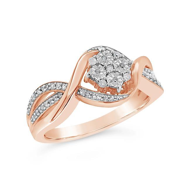 1/6 Carat Diamond Miracle Set Fashion Ring in Rose Gold-Plated Sterling Silver