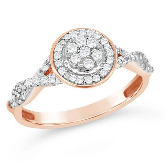 1/3 Carat Diamond Halo Ring in Rose Gold-Plated Sterling Silver