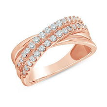 Load image into Gallery viewer, 1/3 Carat Diamond Crossover Band in Rose Gold/Sterling Silver