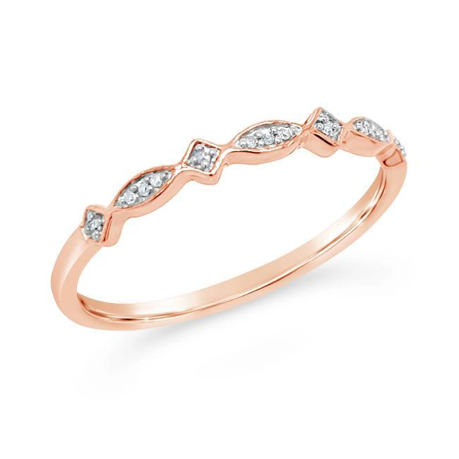 Diamond Accent Fashion Band in Rose Gold-Plated Sterling Silver