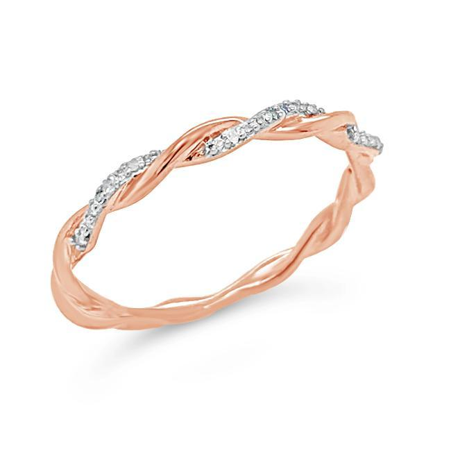 Diamond Accent Twisted Fashion Band in Rose Gold-Plated Sterling Silver