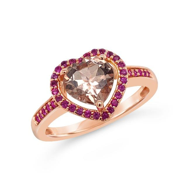FOREVER COLOR® | 1.00 Carat Genuine Morganite & Pink Sapphire Heart Ring in Rose Gold-Plated Sterling Silver