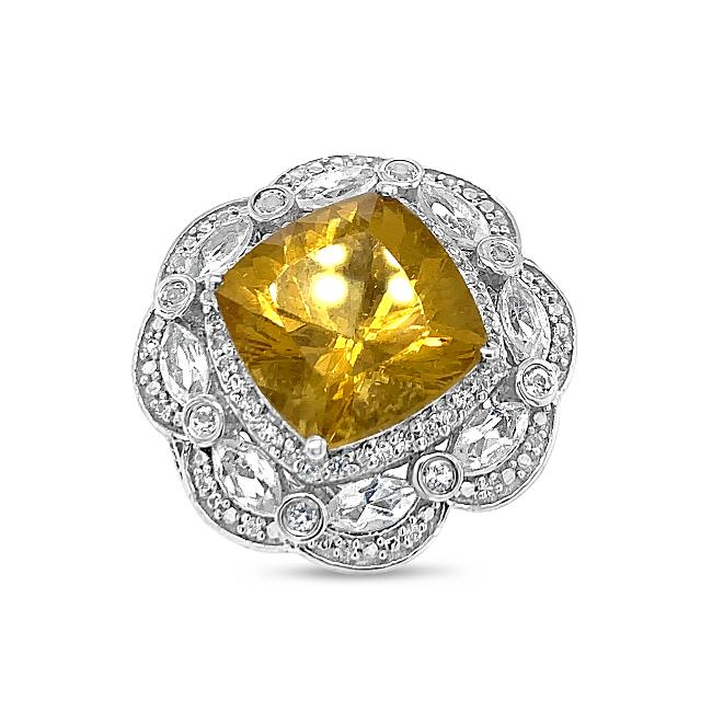7.96 Carat Genuine Golden Apatite & White Topaz Flower Ring in Sterling Silver