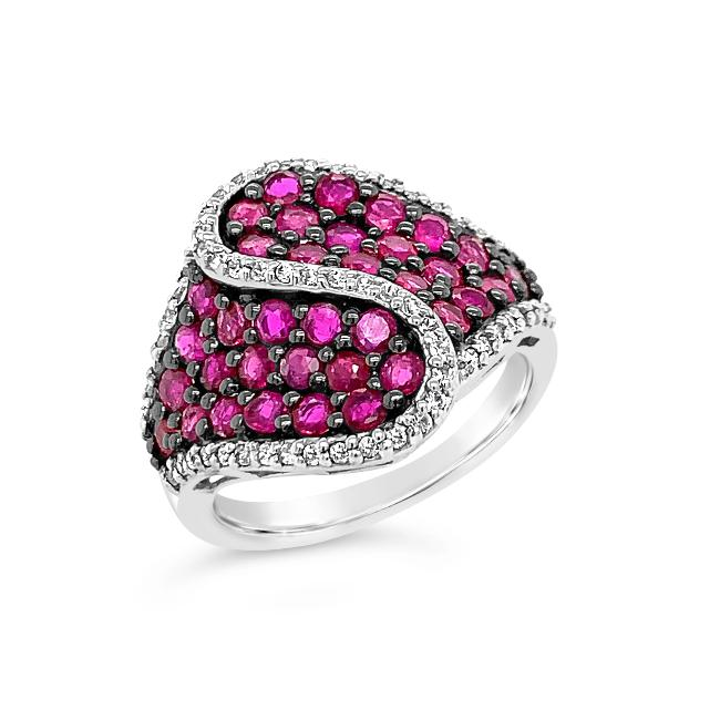 3.14 Carat Genuine Ruby & White Zircon Fashion Ring in Sterling Silver
