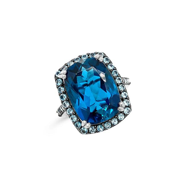 11.93 Carat Genuine London Blue Topaz & Swiss Blue Topaz Cocktail Ring in Sterling Silver