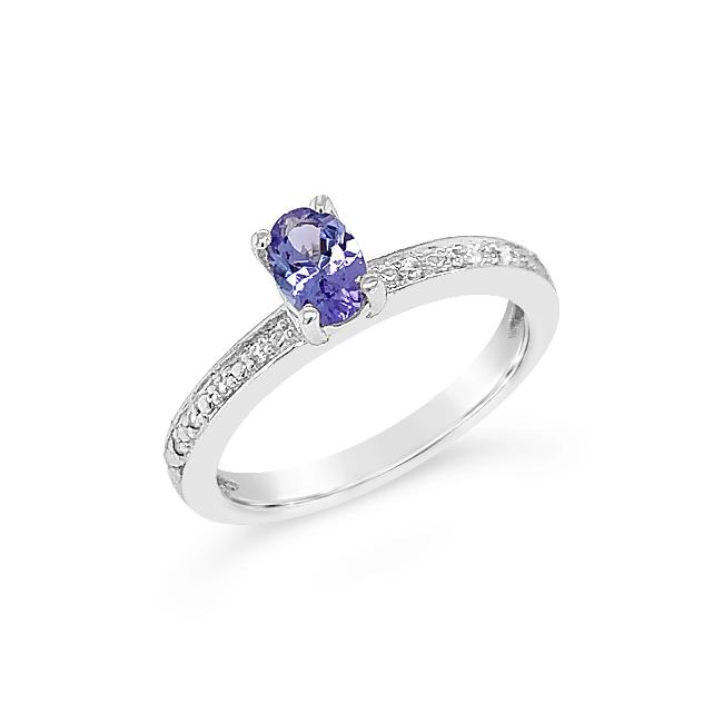 3/8 Carat Genuine Tanzanite & White Zircon Ring in Sterling Silver