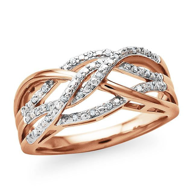0.10 Carat Diamond Accent Ring in Rose Gold-Plated Sterling Silver