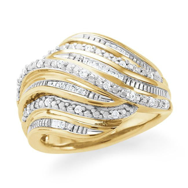 1/4 Carat Diamond Wave Ring in Gold Over Silver