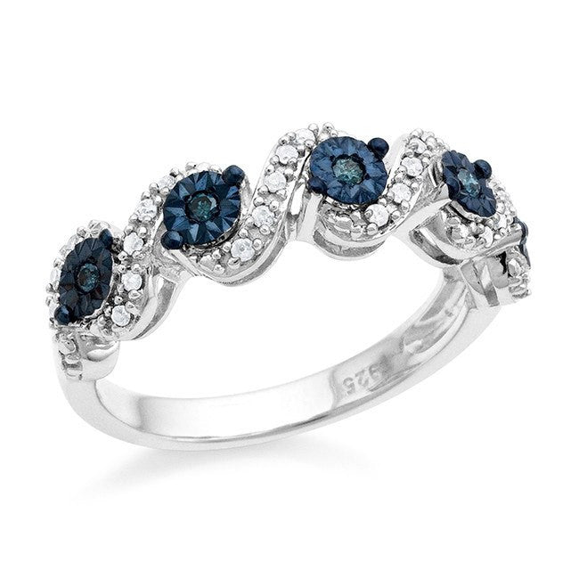 Diamond Miracles: 0.20 Carat Blue & White Diamond Ring in Sterling Silver