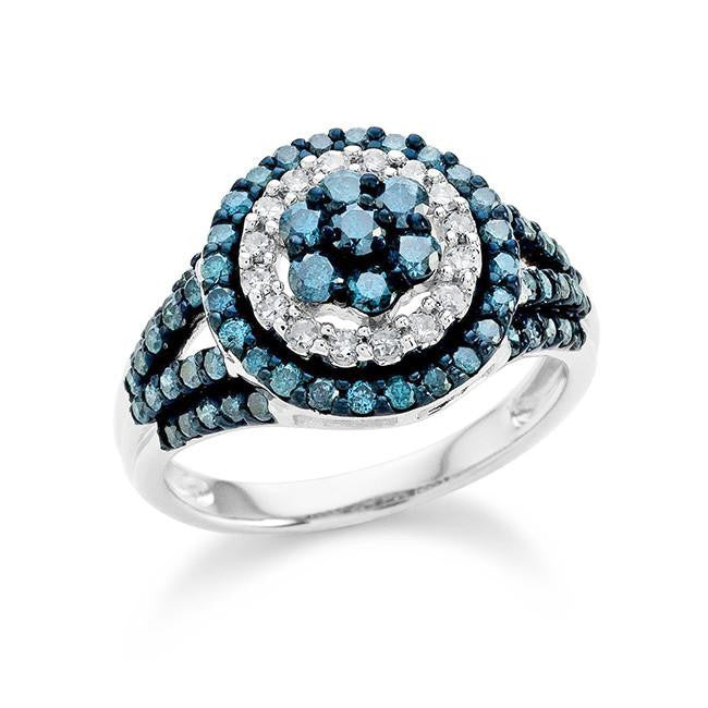 1.05 Carat Blue & White Diamond Ring in Sterling Silver