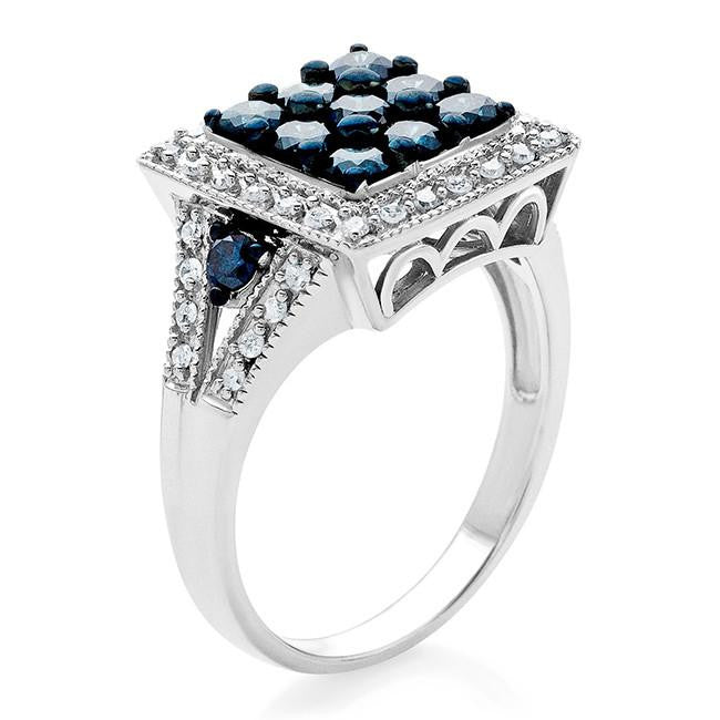 1.00 Carat Blue & White Square Diamond Ring in Sterling Silver