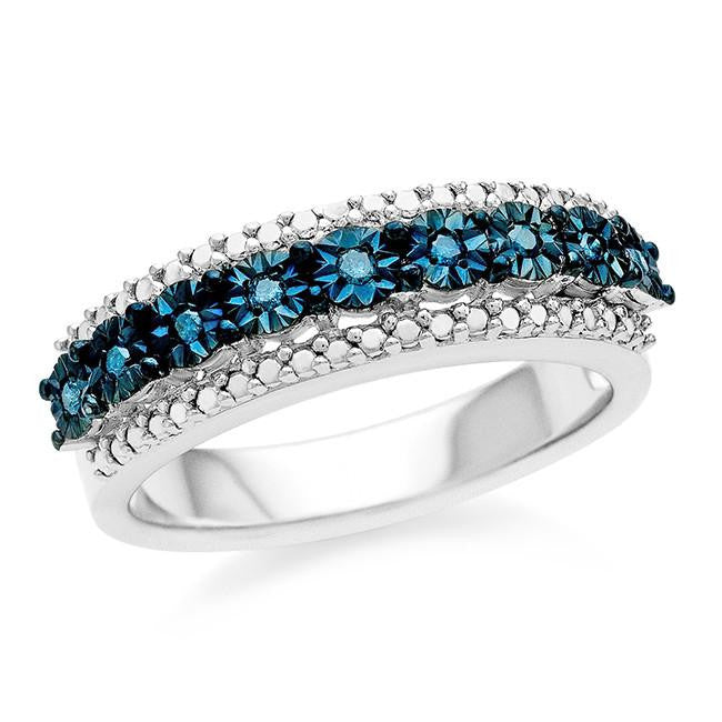 Diamond Miracles: 0.09 Carat Blue Diamond Fashion Ring in Sterling Silver