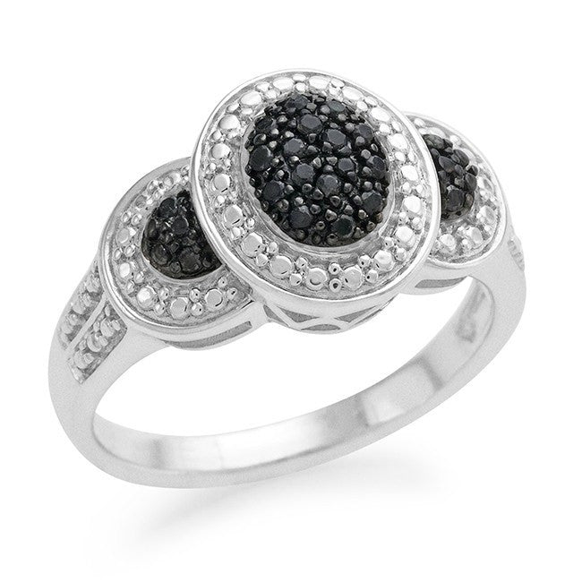 0.10 Carat Black Diamond Ring in Sterling Silver - Size 7