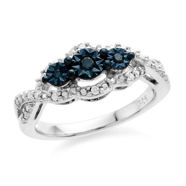 Diamond Miracles: 0.10 Carat Blue & White Diamond Ring in Sterling Silver