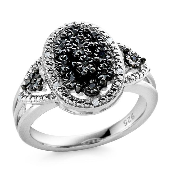 0.10 Carat Black and White Diamond Ring in Sterling Silver - Size 7