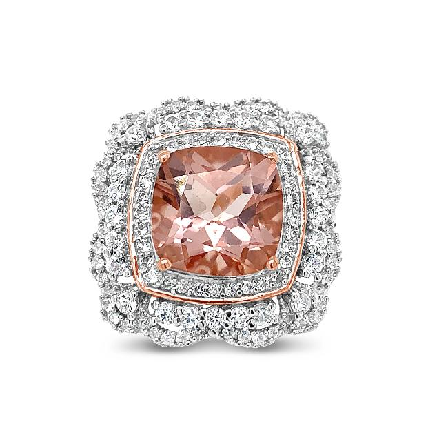 7.58 Carat Morganite Color Quartz & White Zircon Ring in 18K Rose Gold-Plated Sterling Silver