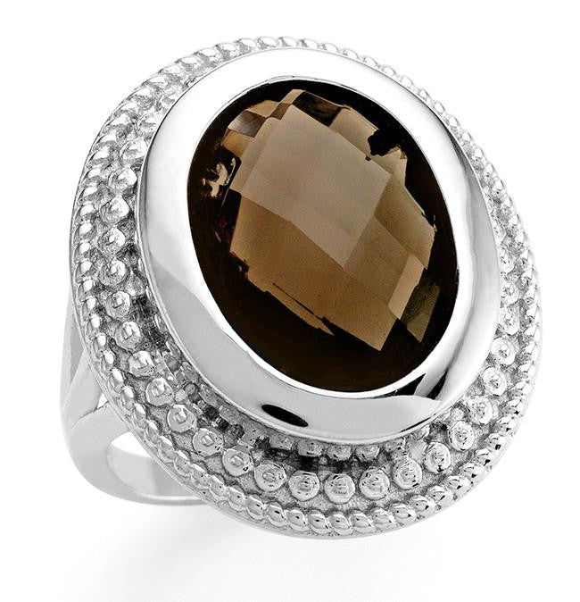 7.35 Genuine Smoky Topaz Oval Ring in Sterling Silver