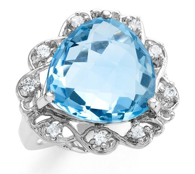 10.90 Carat Genuine Checkerboard Blue Topaz & Cubic Zirconia Ring in Sterling Silver