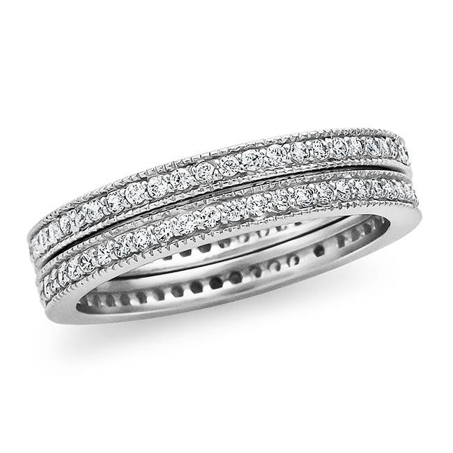Cubic Zirconia Double Band in Sterling Silver