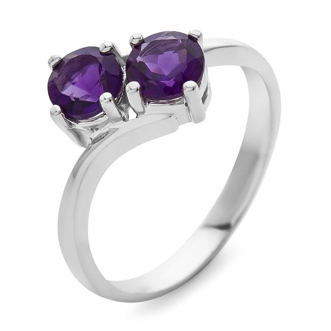 1.00 Carat Amethyst Bypass Ring in Sterling Silver