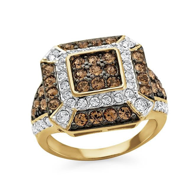 Brown & White Crystal Cocktail Fashion Ring in Gold-Plated Sterling Silver
