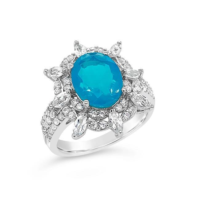 1.75 Carat Genuine Blue Opal & White Zircon Fashion Ring in Sterling Silver