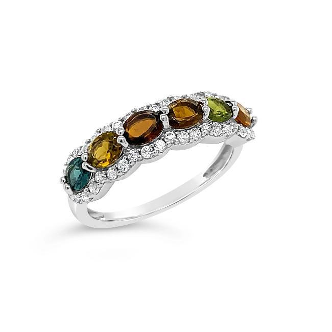 0.40 Carat Multi-Tourmaline & White Zircon Ring in Sterling Silver