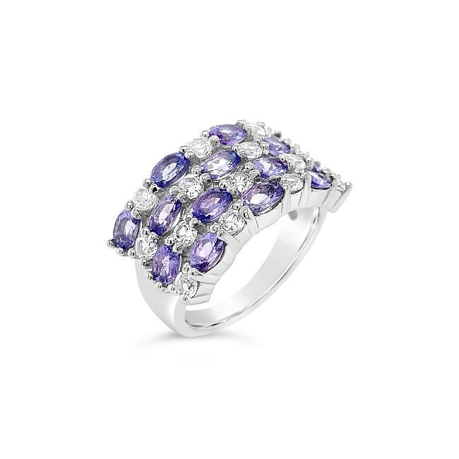 1.10 Carat Genuine Tanzanite & White Zircon Ring in Sterling Silver