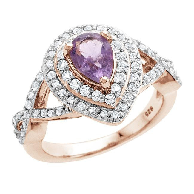 1.25 Carat Genuine Amethyst & White Topaz Ring in Rose Gold-Plated Sterling Silver