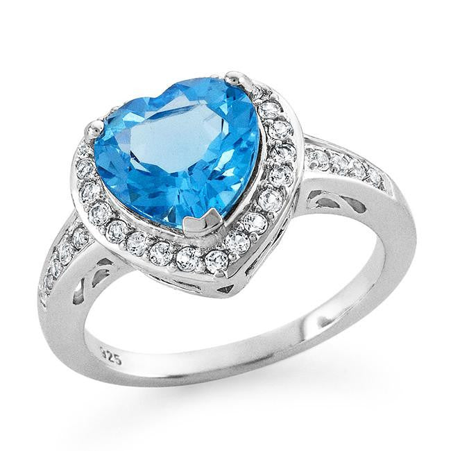 3.50 Carat Genuine Blue & White Topaz Heart Ring in Sterling Silver