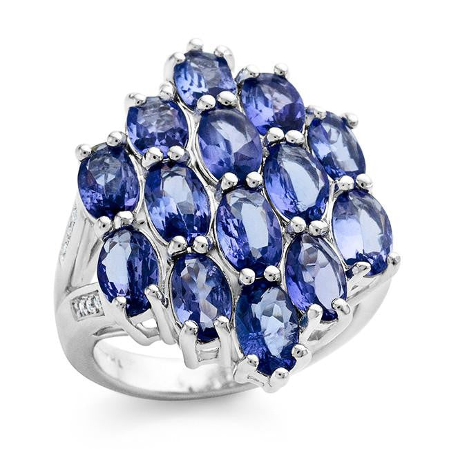 5.25 Carat Tanzanite and White Topaz Cluster Ring In Sterling Silver