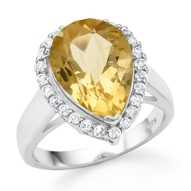 4.95 Carat Genuine Citrine & White Topaz Cocktail Ring in Sterling Silver