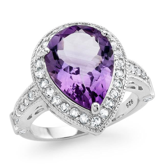 5.20 Carat Genuine Amethyst & White Topaz Ring in Sterling Silver
