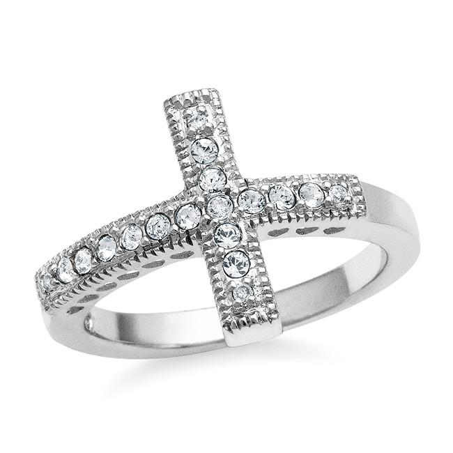 White Swarovski Elements Cross Ring in Sterling Silver